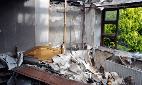 Surge Construction Fire Damage Restoration in Bedroom