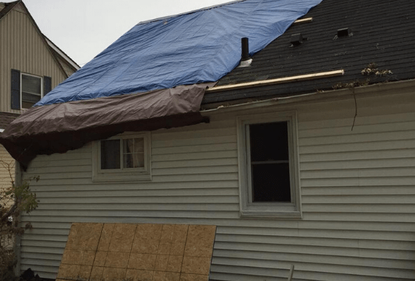 Surge Construction Storm Damage Restoration Roof Before